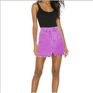 Grlfrnd Denim Distressed Purple Mini Skirt Size 28